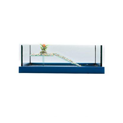 GCF χελωνιέρα γυάλινη τετράγωνη + πλαίσιο μπλε 30cm